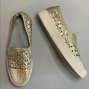 Marc Fisher gold metallic woven sneaker slip on